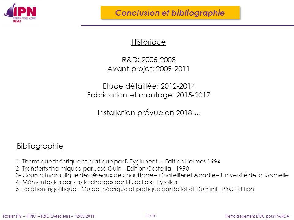 Rosier Ph. – IPNO – R&D Détecteurs – 12/09/2011 41/41 Refroidissement EMC pour PANDA Conclusion et bibliographie Historique R&D: 2005-2008 Avant-proje