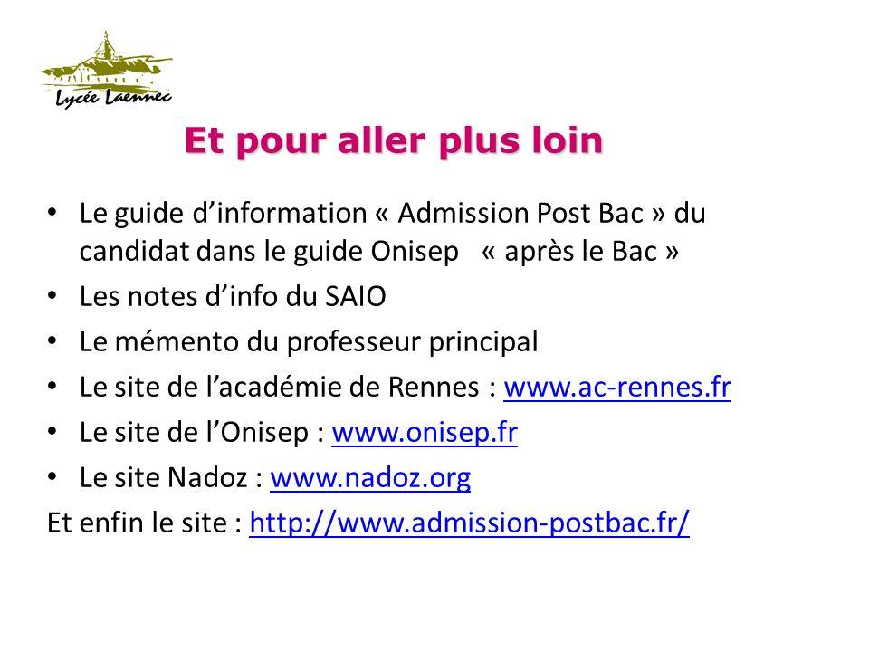 Et pour aller plus loin Le guide dinformation « Admission Post Bac » du candidat dans le guide Onisep « après le Bac » Les notes dinfo du SAIO Le mémento du professeur principal Le site de lacadémie de Rennes : www.ac-rennes.frwww.ac-rennes.fr Le site de lOnisep : www.onisep.frwww.onisep.fr Le site Nadoz : www.nadoz.orgwww.nadoz.org Et enfin le site : http://www.admission-postbac.fr/http://www.admission-postbac.fr/