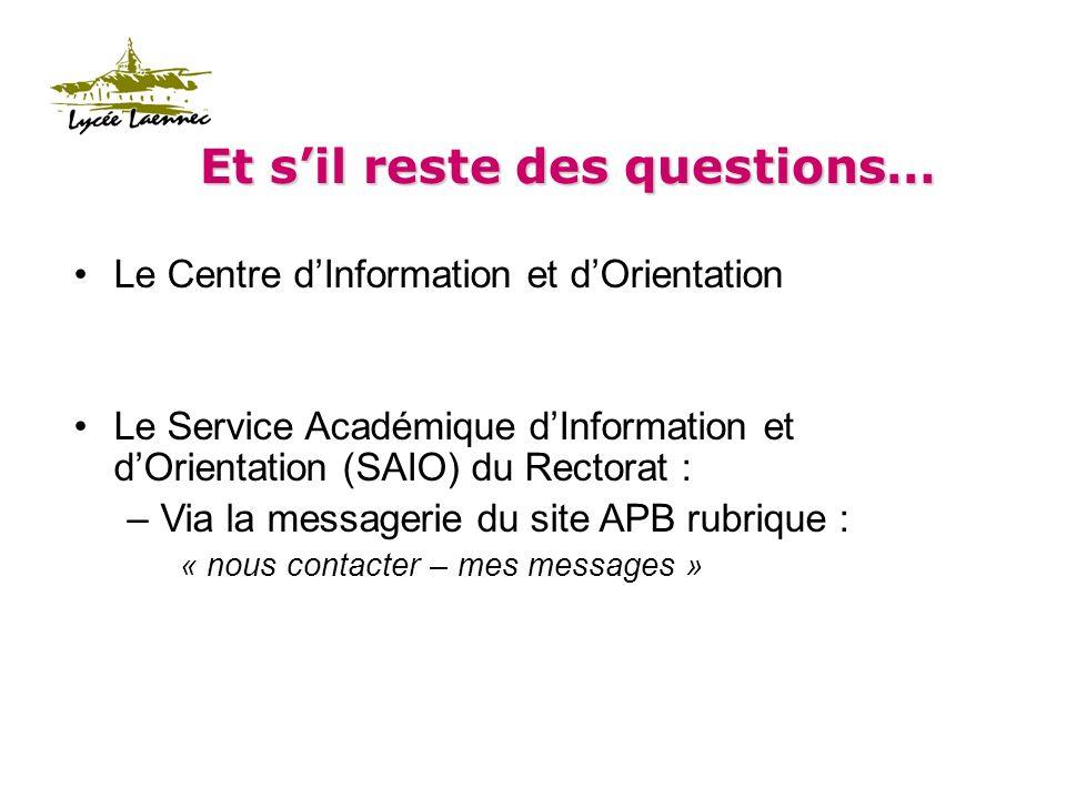 Et sil reste des questions… Le Centre dInformation et dOrientation Le Service Académique dInformation et dOrientation (SAIO) du Rectorat : –Via la messagerie du site APB rubrique : « nous contacter – mes messages »