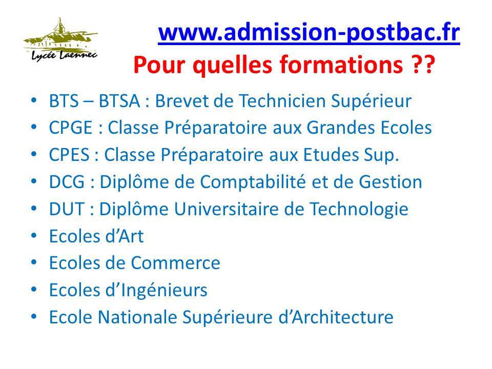 www.admission-postbac.fr www.admission-postbac.fr Pour quelles formations ?.