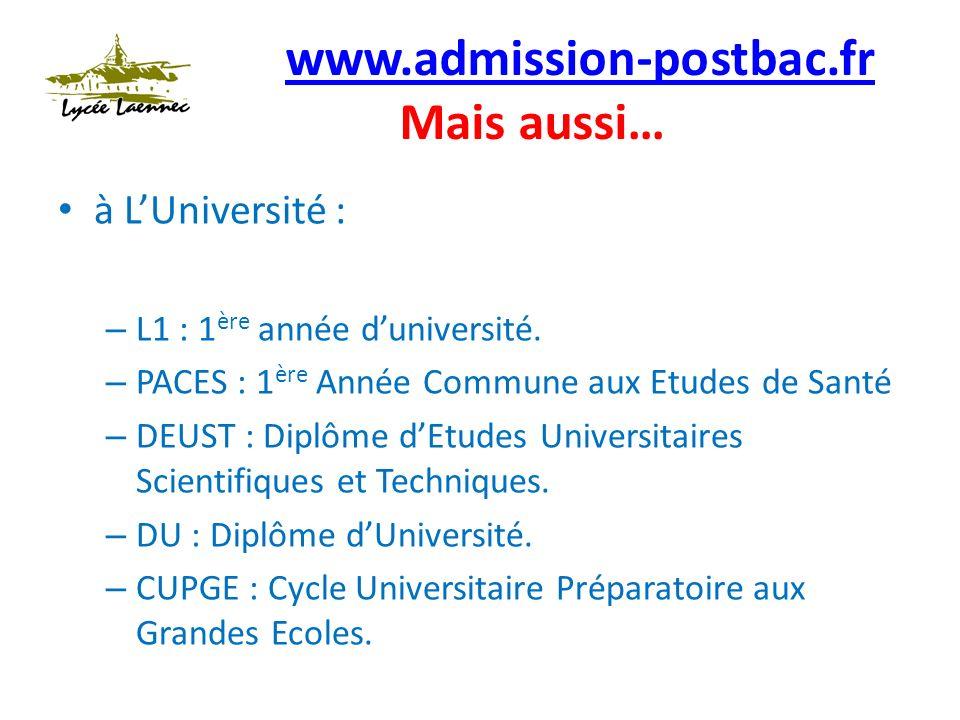 www.admission-postbac.fr www.admission-postbac.fr Mais aussi… à LUniversité : – L1 : 1 ère année duniversité.