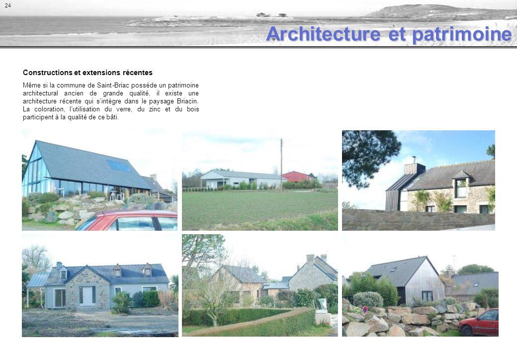 Constructions et extensions récentes Même si la commune de Saint-Briac possède un patrimoine architectural ancien de grande qualité, il existe une architecture récente qui sintègre dans le paysage Briacin.