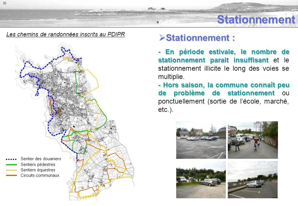 Stationnement - En période estivale, le nombre de stationnement parait insuffisant - En période estivale, le nombre de stationnement parait insuffisant et le stationnement illicite le long des voies se multiplie.