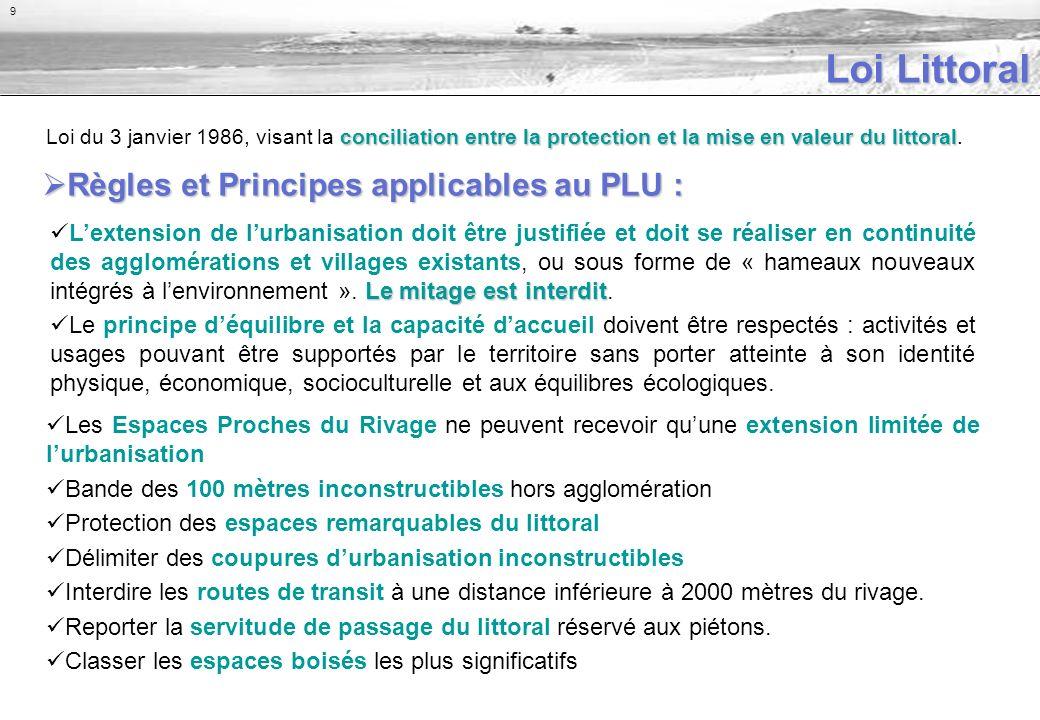 conciliation entre la protection et la mise en valeur du littoral Loi du 3 janvier 1986, visant la conciliation entre la protection et la mise en valeur du littoral.
