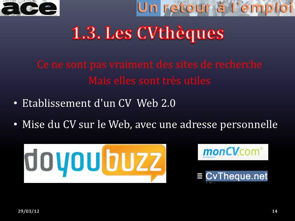 29/03/1214 Etablissement d un CV Web 2.0 Mise du CV sur le Web, avec une adresse personnelle Ce ne sont pas vraiment des sites de recherche Mais elles sont très utiles