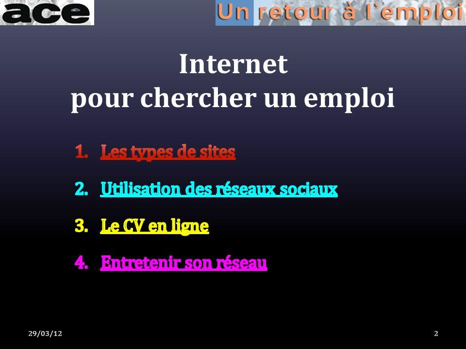 Internet pour chercher un emploi 29/03/122
