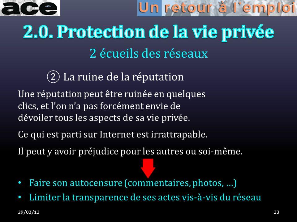 2 écueils des réseaux 29/03/1223 La ruine de la réputation Une réputation peut être ruinée en quelques clics, et lon na pas forcément envie de dévoiler tous les aspects de sa vie privée.