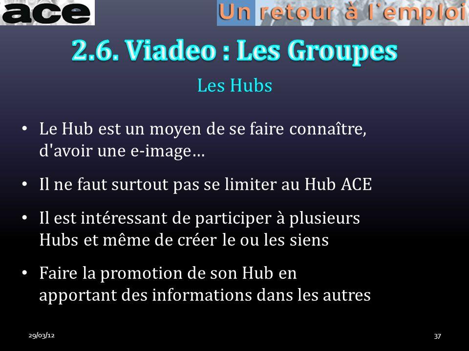 Les Hubs 29/03/1237 Le Hub est un moyen de se faire connaître, d avoir une e-image… Il ne faut surtout pas se limiter au Hub ACE Il est intéressant de participer à plusieurs Hubs et même de créer le ou les siens Faire la promotion de son Hub en apportant des informations dans les autres