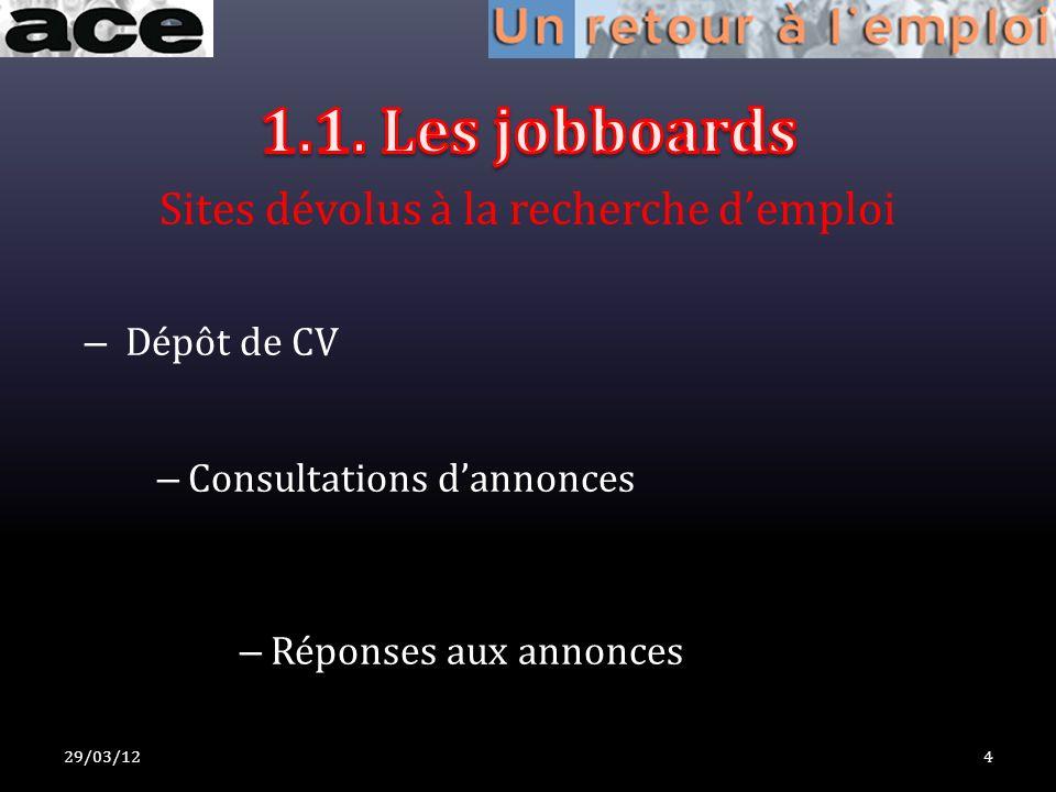 Sites dévolus à la recherche demploi – Dépôt de CV – Consultations dannonces – Réponses aux annonces 29/03/124