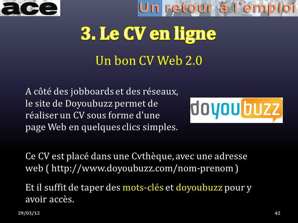 Un bon CV Web 2.0 29/03/1242 Ce CV est placé dans une Cvthèque, avec une adresse web ( http://www.doyoubuzz.com/nom-prenom ) Et il suffit de taper des mots-clés et doyoubuzz pour y avoir accès.