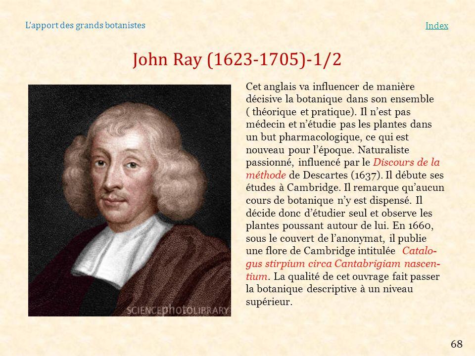 Lapport des grands botanistes Index John Ray (1623-1705)-1/2 Cet anglais va influencer de manière décisive la botanique dans son ensemble ( théorique