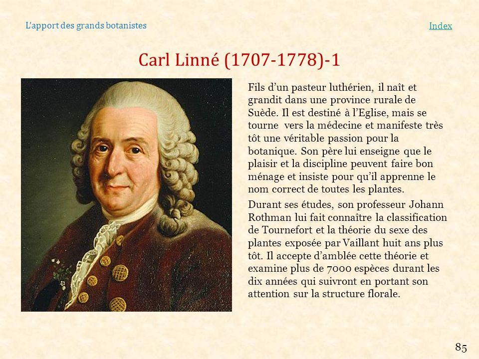 Lapport des grands botanistes Index Carl Linné (1707-1778)-1 Fils dun pasteur luthérien, il naît et grandit dans une province rurale de Suède. Il est