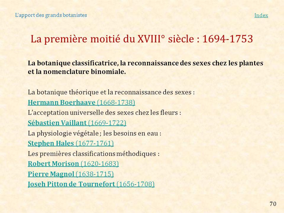 Lapport des grands botanistes Index La botanique classificatrice, la reconnaissance des sexes chez les plantes et la nomenclature binomiale. La botani