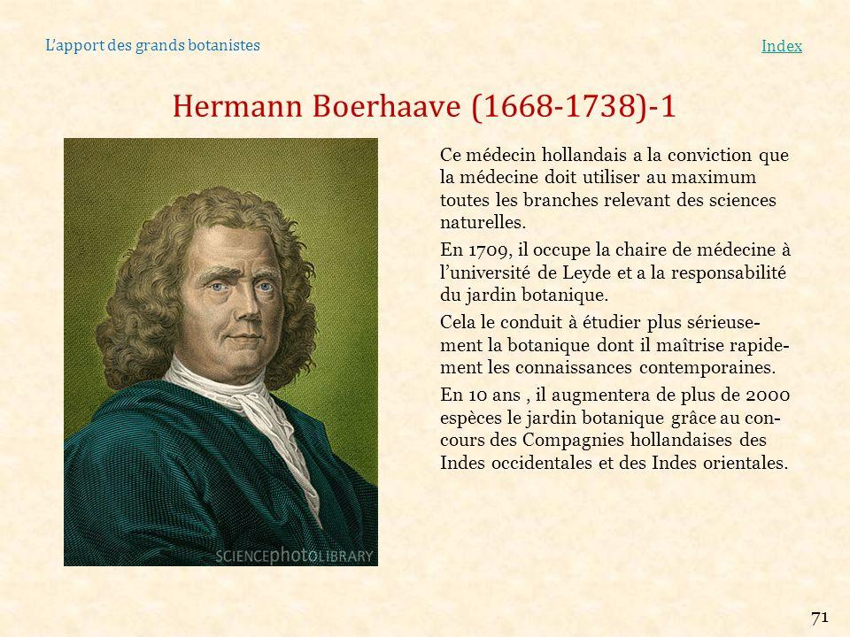 Lapport des grands botanistes Index Hermann Boerhaave (1668-1738)-1 Ce médecin hollandais a la conviction que la médecine doit utiliser au maximum tou