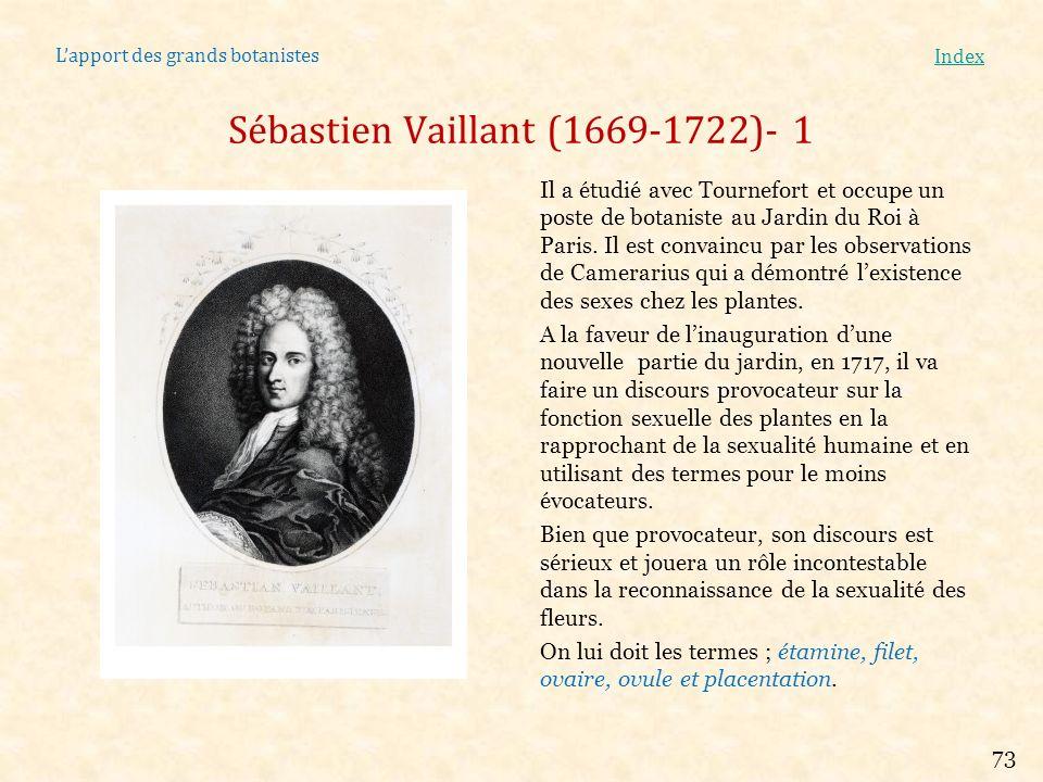 Lapport des grands botanistes Index Sébastien Vaillant (1669-1722)- 1 Il a étudié avec Tournefort et occupe un poste de botaniste au Jardin du Roi à P