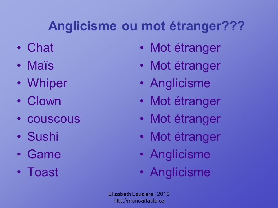 Anglicisme ou mot étranger .