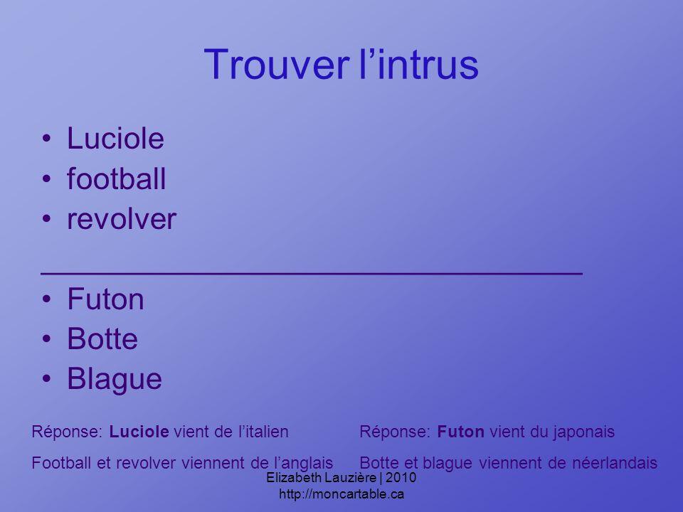 Trouver lintrus Luciole football revolver ________________________________ Futon Botte Blague Réponse: Luciole vient de litalien Football et revolver viennent de langlais Réponse: Futon vient du japonais Botte et blague viennent de néerlandais Elizabeth Lauzière | 2010 http://moncartable.ca