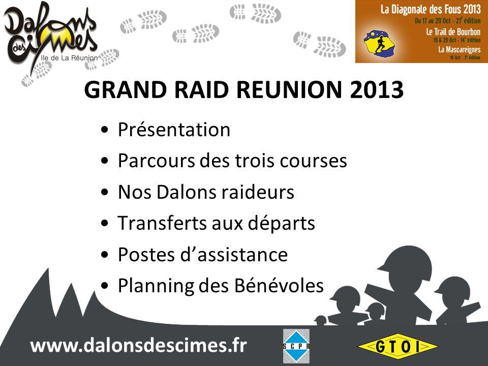 www.dalonsdescimes.fr GRAND RAID REUNION 2013 Présentation Parcours des trois courses Nos Dalons raideurs Transferts aux départs Postes dassistance Planning des Bénévoles