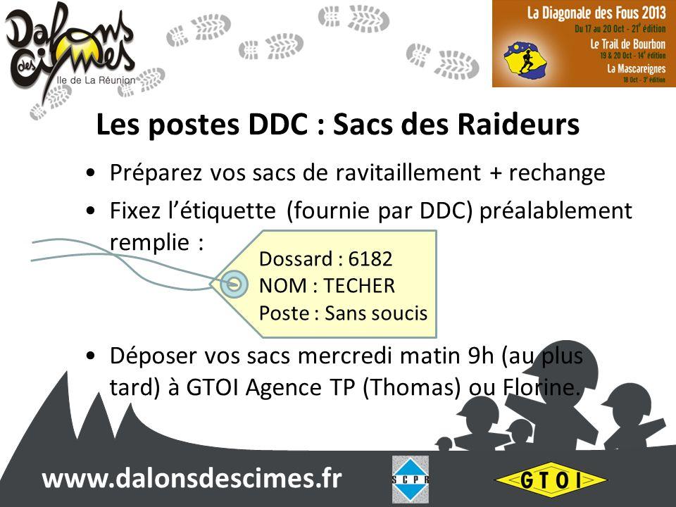 www.dalonsdescimes.fr Les postes DDC : Sacs des Raideurs Préparez vos sacs de ravitaillement + rechange Fixez létiquette (fournie par DDC) préalableme