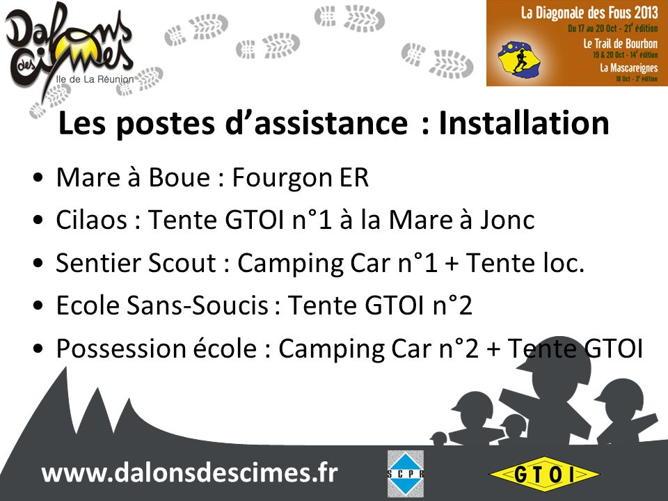 www.dalonsdescimes.fr Les postes dassistance : Installation Mare à Boue : Fourgon ER Cilaos : Tente GTOI n°1 à la Mare à Jonc Sentier Scout : Camping