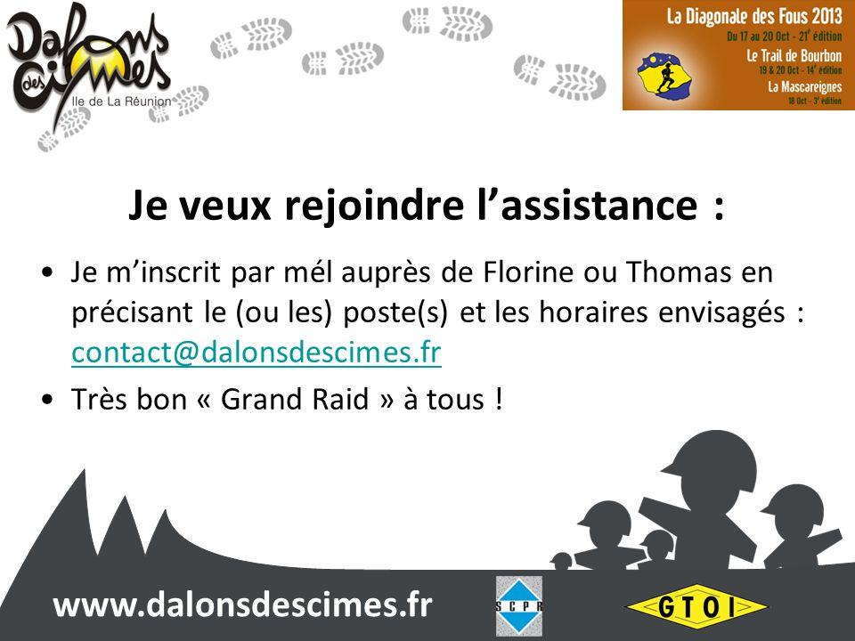 www.dalonsdescimes.fr Je veux rejoindre lassistance : Je minscrit par mél auprès de Florine ou Thomas en précisant le (ou les) poste(s) et les horaire