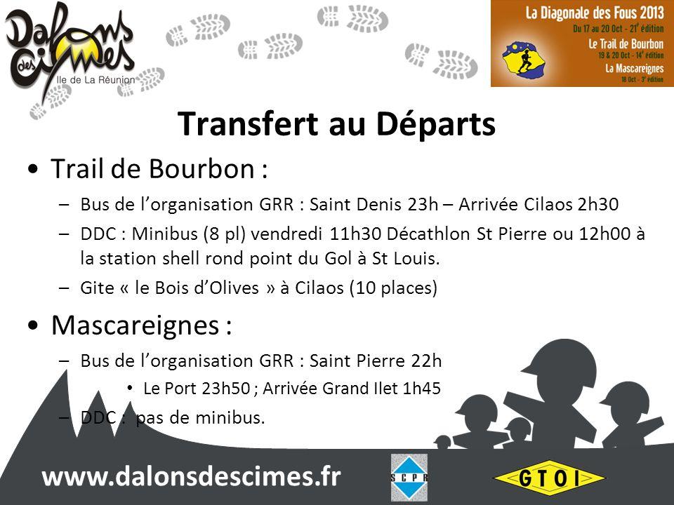 www.dalonsdescimes.fr Transfert au Départs Trail de Bourbon : –Bus de lorganisation GRR : Saint Denis 23h – Arrivée Cilaos 2h30 –DDC : Minibus (8 pl) vendredi 11h30 Décathlon St Pierre ou 12h00 à la station shell rond point du Gol à St Louis.
