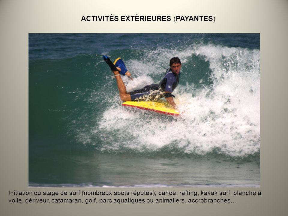 Initiation ou stage de surf (nombreux spots réputés), canoë, rafting, kayak surf, planche à voile, dériveur, catamaran, golf, parc aquatiques ou animaliers, accrobranches...