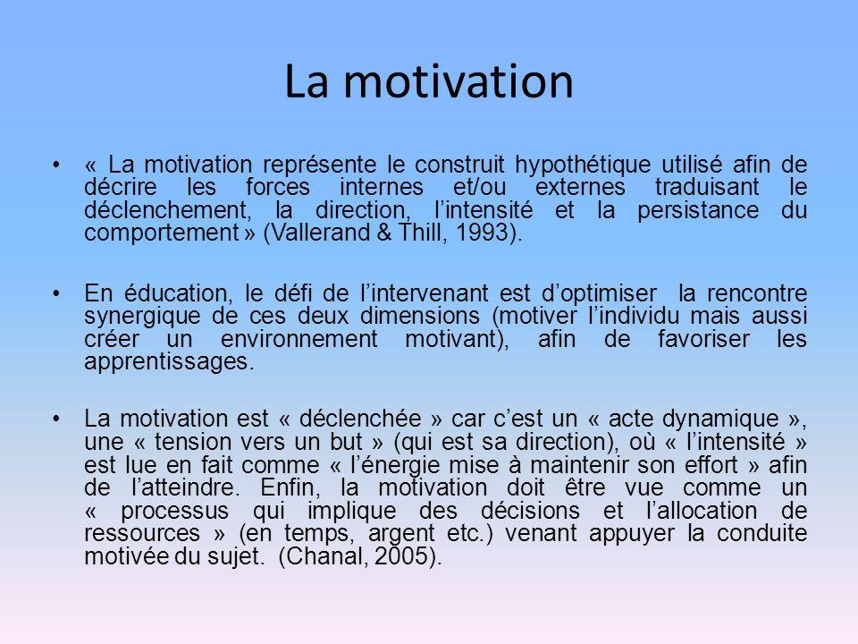 La motivation « La motivation représente le construit hypothétique utilisé afin de décrire les forces internes et/ou externes traduisant le déclenchement, la direction, lintensité et la persistance du comportement » (Vallerand & Thill, 1993).