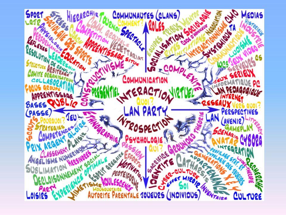 Sommaire de la conférence I Présentation des Serious Games II Recherches doctorales sur le LAN party 2.1 Préambule et présentation du LAN 2.2 Méthodologie et concepts (Théorisation ancrée et interactionnisme) 2.3 Motivation, Fun Factor et expérience optimale 2.4 Apprentissages et développement de compétence (Brougere, 2005) 2.5 Ce que nous ont appris les joueurs : 2.5.1 Génération protéiforme, cyberculture et attrait du jeu vidéo (lindustrie en chiffres) 2.5.2 La compétition et le E-sport : le LAN entre sport et média 2.5.3 Typologie et stades comportements des joueurs 2.5.4 Tribus, rites & affects: le retour du grégaire : Le scoutisme électronique 2.5.5 Effets marginaux du LAN : Angélisme numérique, genres et asexualité III Proposition théorique et expérimentation autour du LAN pédagogique 3.1 La théorie du LAN pédagogique : les grandes lignes 3.2 Retour sur une expérimentation appliquée dun LAN pédagogique : simulation dun examen de conduite collective (22 janvier 2010) 3.3 Procédure méthodologique de conception : tenir un LAN en dix étapes faciles IV Ouverture et recommandations