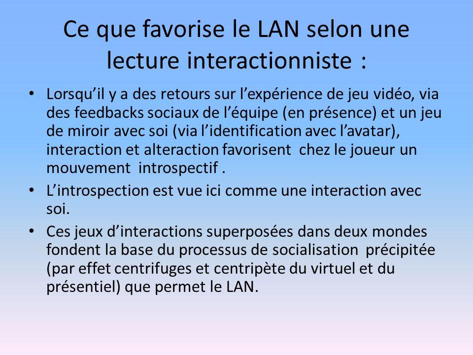 Ce que favorise le LAN selon une lecture interactionniste : Lorsquil y a des retours sur lexpérience de jeu vidéo, via des feedbacks sociaux de léquipe (en présence) et un jeu de miroir avec soi (via lidentification avec lavatar), interaction et alteraction favorisent chez le joueur un mouvement introspectif.