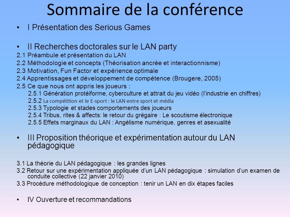Vidéo de lexpérimentation tenue le 22 janvier 2010 : http://www.dailymotion.com/video/xcscpb_volet-pratique-du-lan-pedagogique_videogames