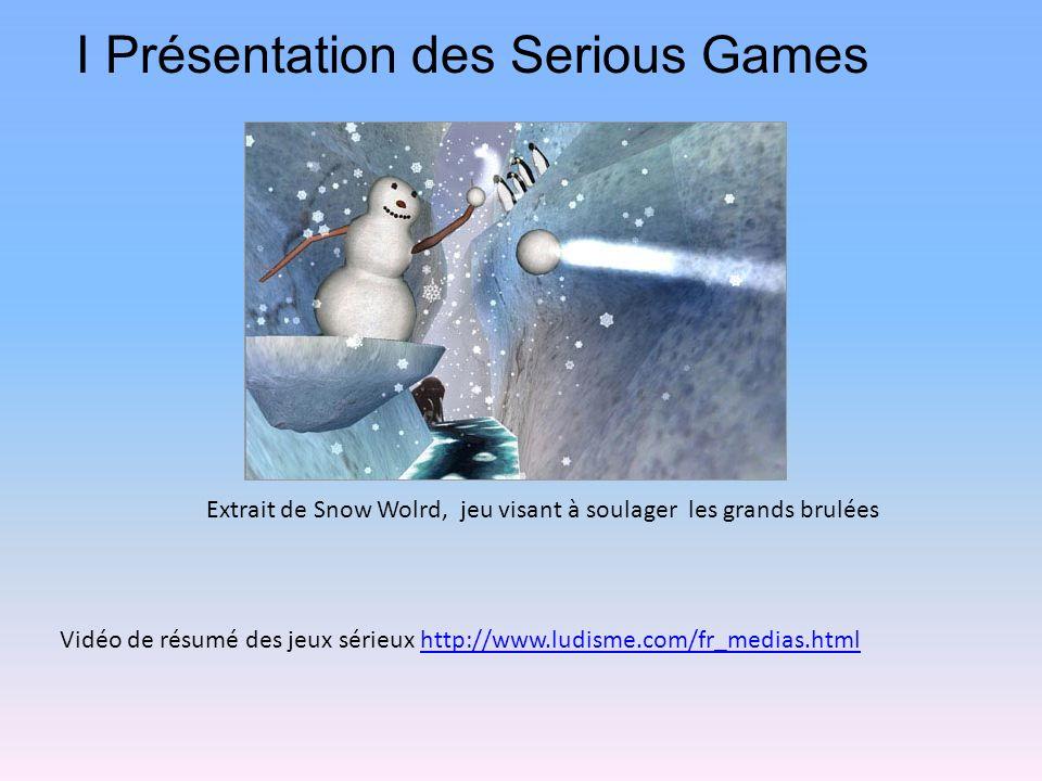 I Présentation des Serious Games Vidéo de résumé des jeux sérieux http://www.ludisme.com/fr_medias.htmlhttp://www.ludisme.com/fr_medias.html Extrait de Snow Wolrd, jeu visant à soulager les grands brulées