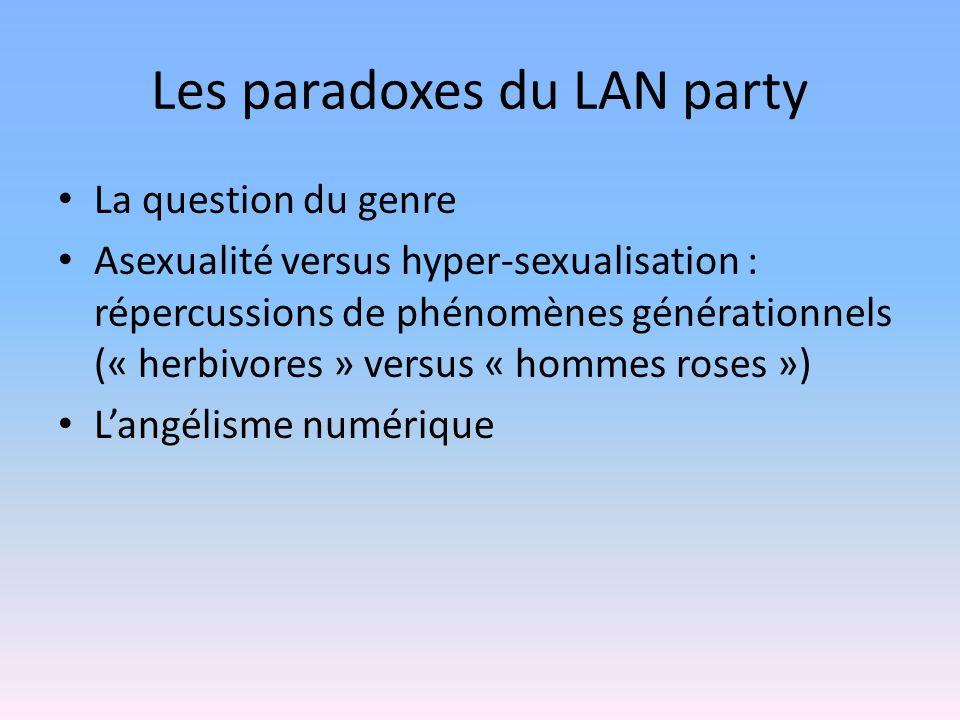 Les paradoxes du LAN party La question du genre Asexualité versus hyper-sexualisation : répercussions de phénomènes générationnels (« herbivores » versus « hommes roses ») Langélisme numérique