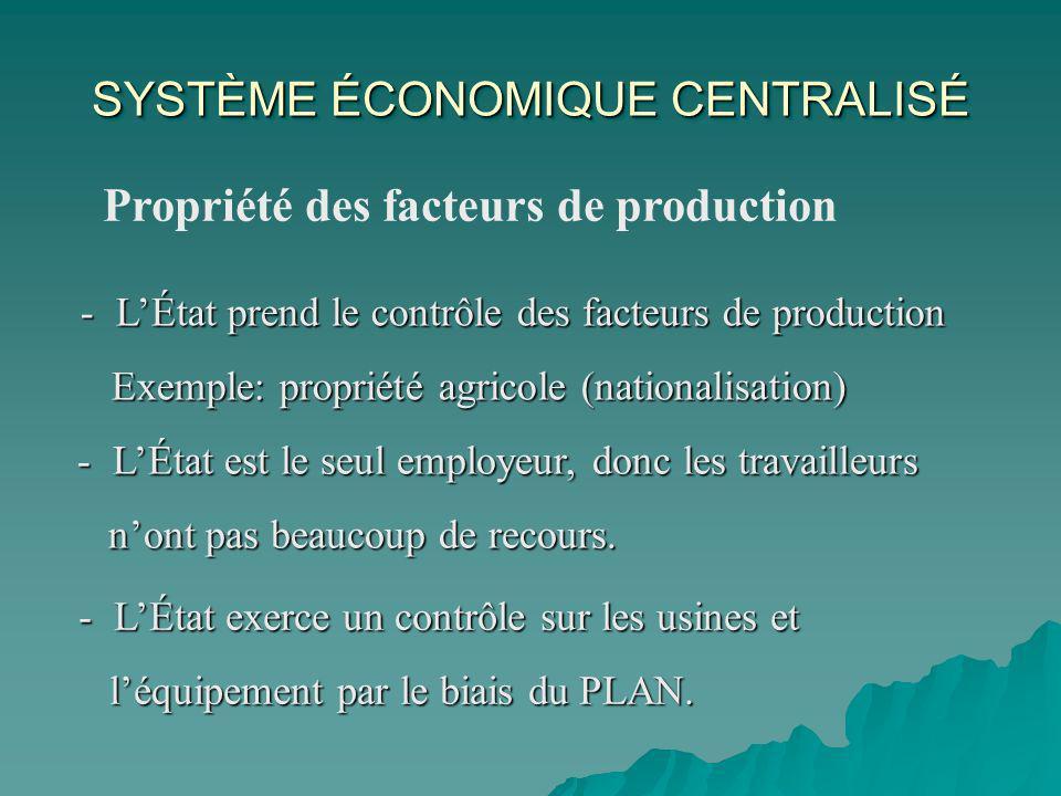 Propriété des facteurs de production - LÉtat prend le contrôle des facteurs de production Exemple: propriété agricole (nationalisation) Exemple: propriété agricole (nationalisation) - LÉtat est le seul employeur, donc les travailleurs nont pas beaucoup de recours.