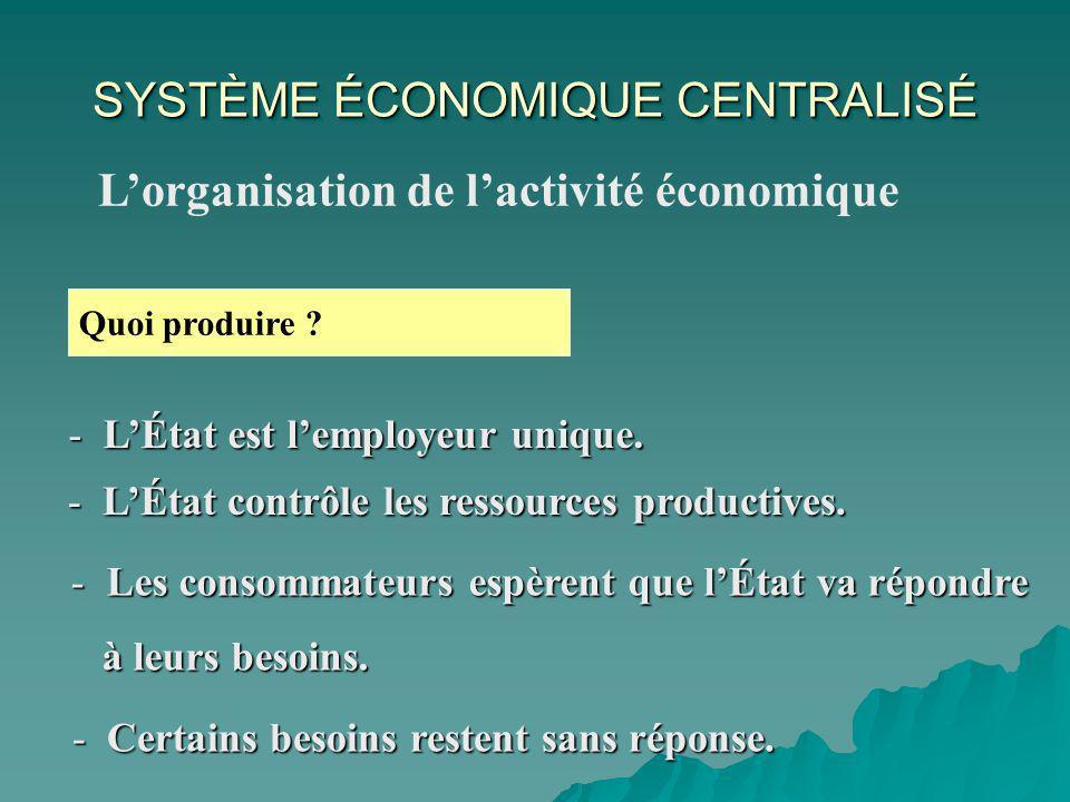 SYSTÈME ÉCONOMIQUE CENTRALISÉ Lorganisation de lactivité économique Quoi produire .