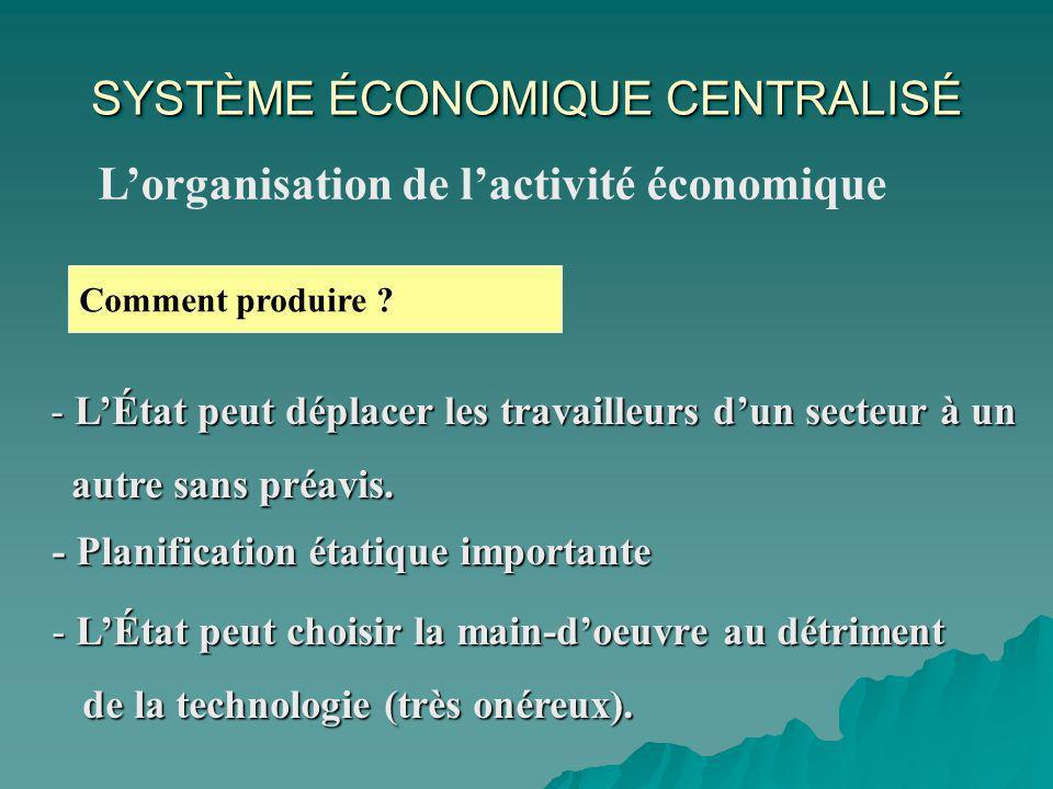 SYSTÈME ÉCONOMIQUE CENTRALISÉ Lorganisation de lactivité économique Comment produire .
