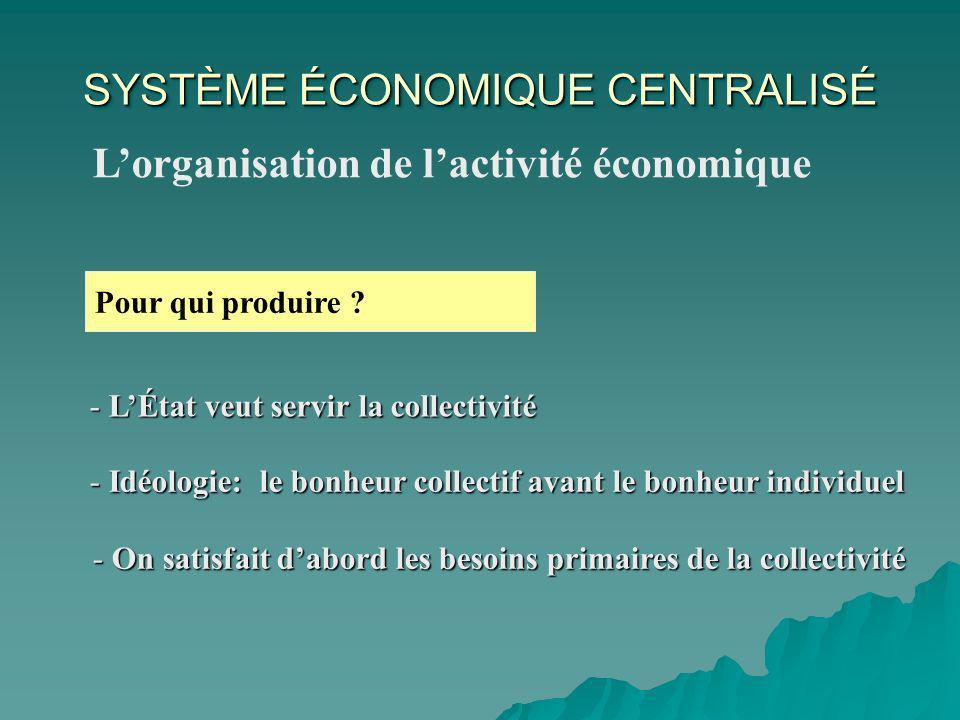 SYSTÈME ÉCONOMIQUE CENTRALISÉ Lorganisation de lactivité économique Pour qui produire .