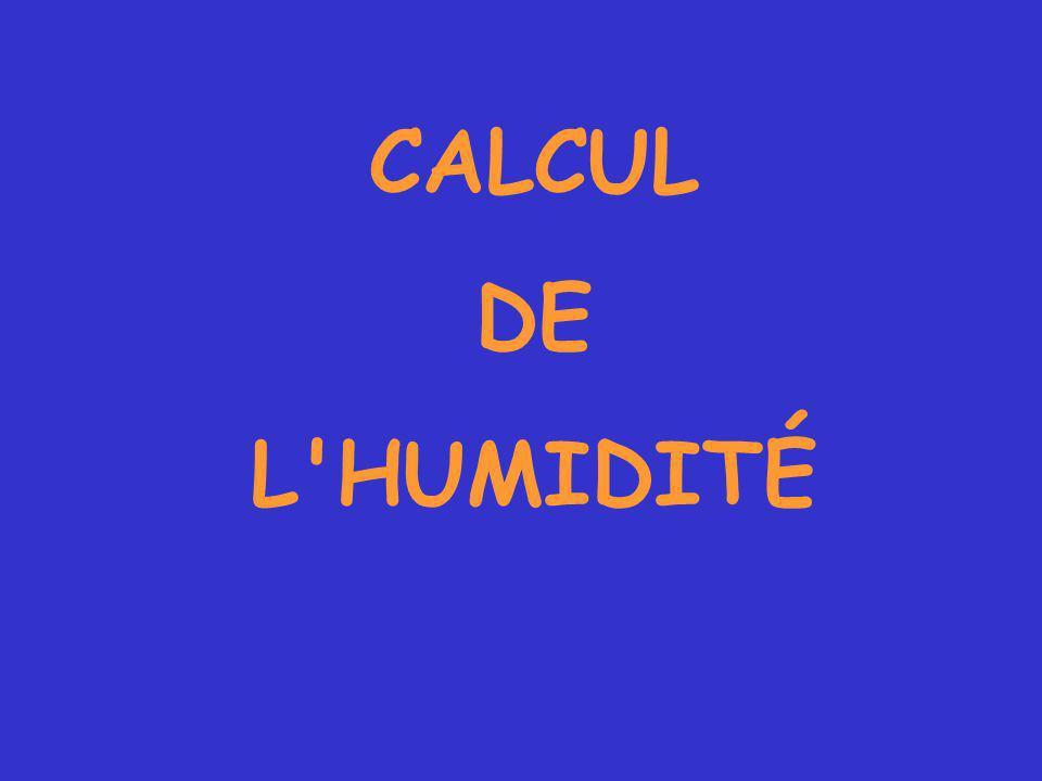 CALCUL DE L HUMIDITÉ