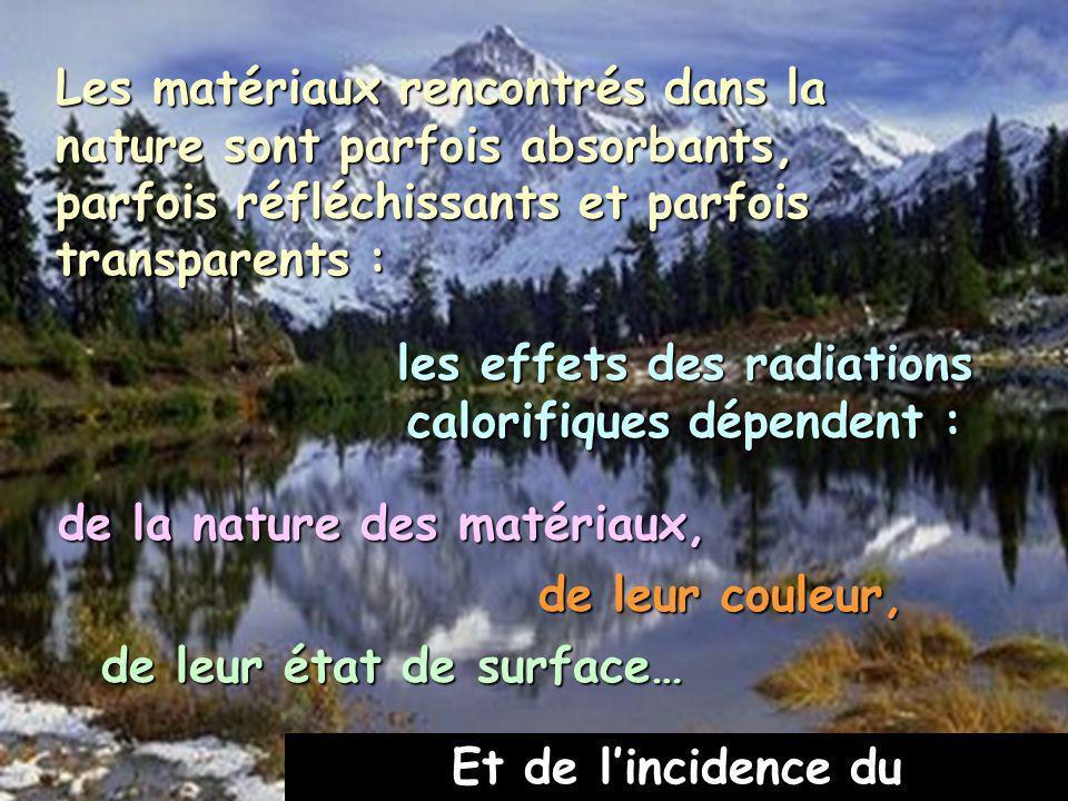 Les matériaux rencontrés dans la nature sont parfois absorbants, parfois réfléchissants et parfois transparents : de leur état de surface… les effets des radiations calorifiques dépendent : de la nature des matériaux, de leur couleur, Et de lincidence du rayonnement.