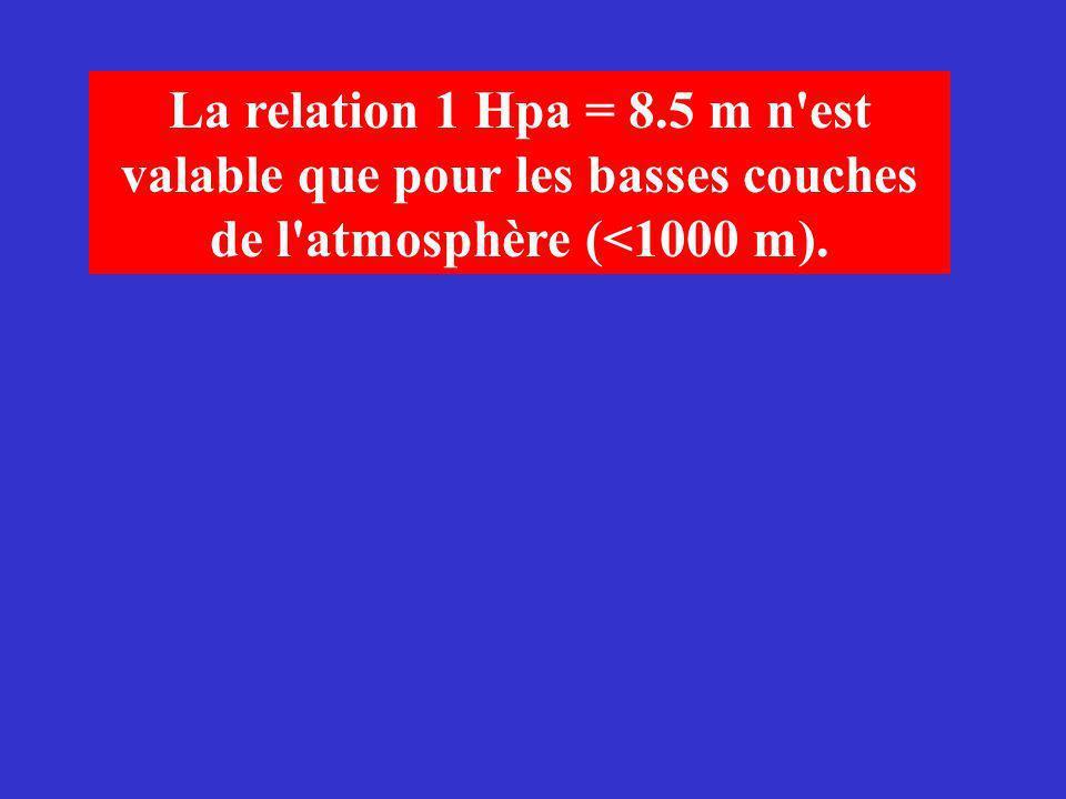 La relation 1 Hpa = 8.5 m n est valable que pour les basses couches de l atmosphère (<1000 m).