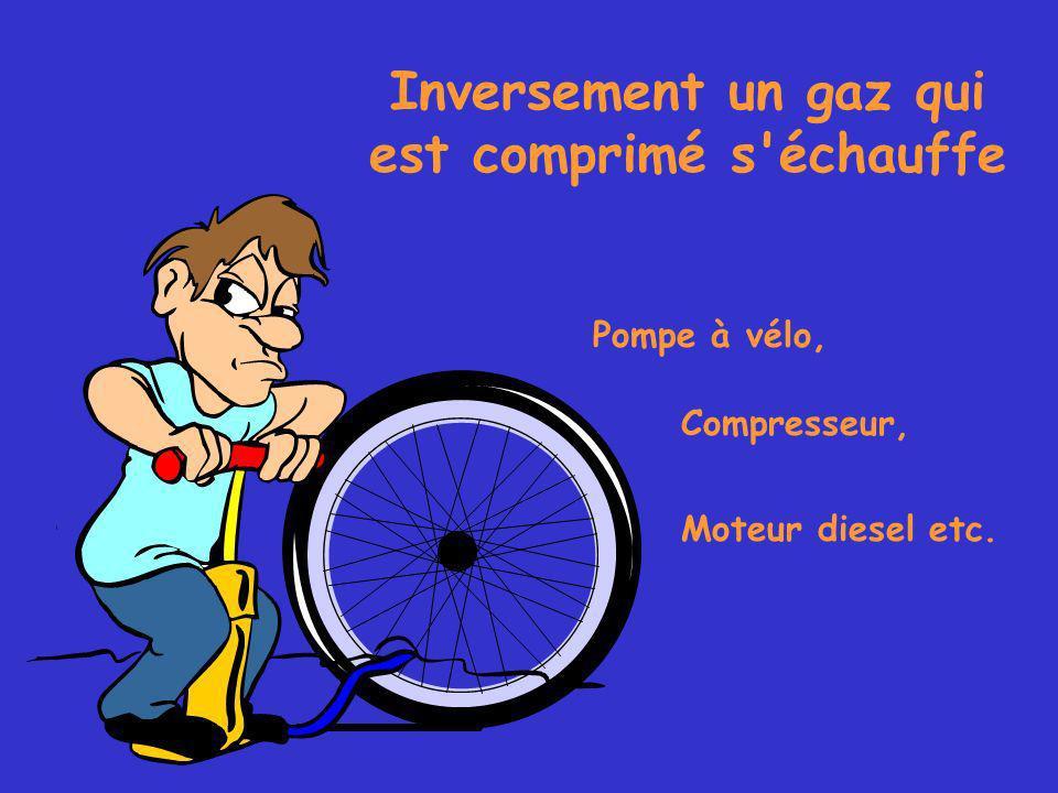 Inversement un gaz qui est comprimé s échauffe Pompe à vélo, Compresseur, Moteur diesel etc.