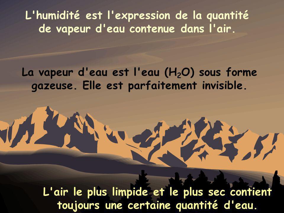 L humidité est l expression de la quantité de vapeur d eau contenue dans l air.