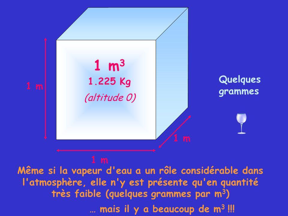 1 m Quelques grammes Même si la vapeur d eau a un rôle considérable dans l atmosphère, elle n y est présente qu en quantité très faible (quelques grammes par m 3 ) … mais il y a beaucoup de m 3 !!.