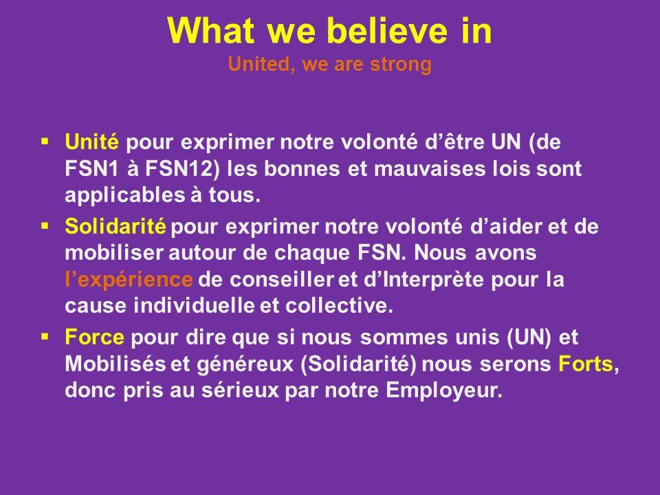 What we believe in United, we are strong Unité pour exprimer notre volonté dêtre UN (de FSN1 à FSN12) les bonnes et mauvaises lois sont applicables à tous.