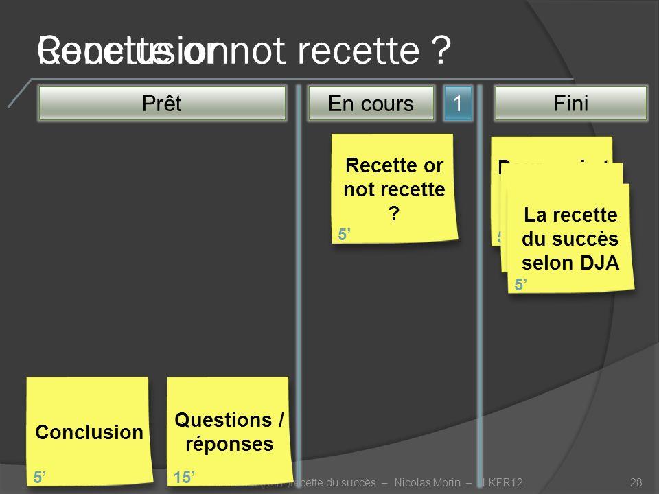 Conclusion 19/10/201228 Prêt1 Recette or not recette .
