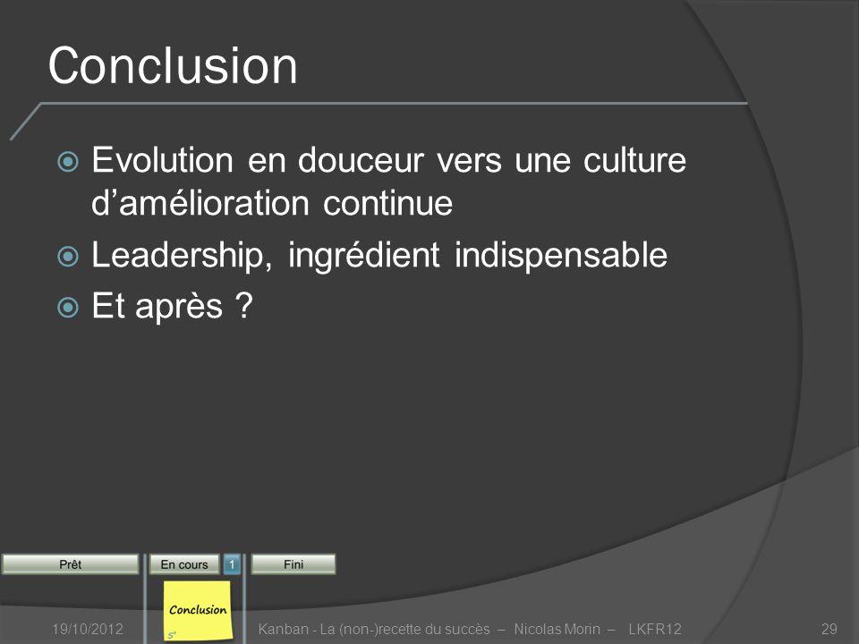 Conclusion Evolution en douceur vers une culture damélioration continue Leadership, ingrédient indispensable Et après .