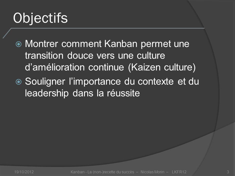 Objectifs Montrer comment Kanban permet une transition douce vers une culture damélioration continue (Kaizen culture) Souligner limportance du contexte et du leadership dans la réussite 19/10/2012Kanban - La (non-)recette du succès – Nicolas Morin – LKFR123
