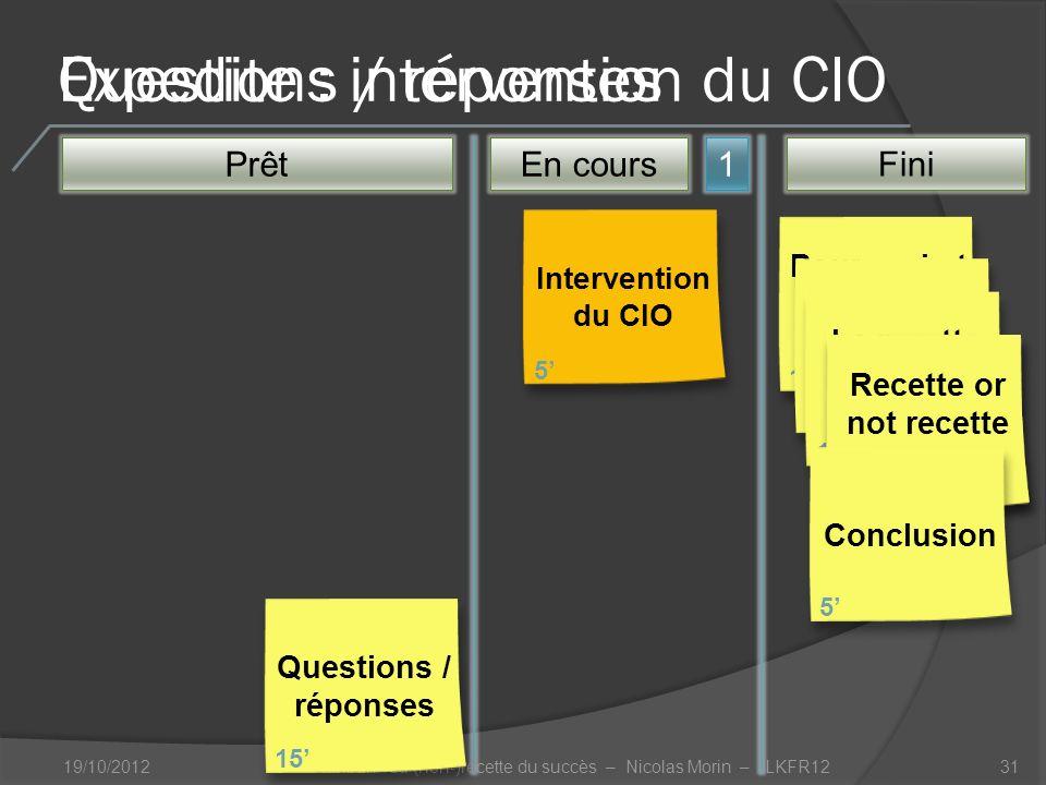 Questions / réponses 19/10/201231 Prêt1 Pourquoi et comment Kanban .
