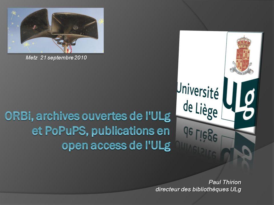 Paul Thirion directeur des bibliothèques ULg Metz 21 septembre 2010