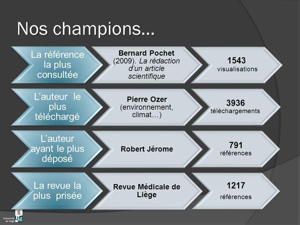 Nos champions… La référence la plus consultée Bernard Pochet (2009).